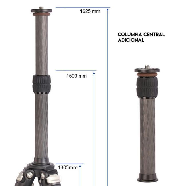 Serie de trípodes Carbono Leofoto LS con columna central extraible
