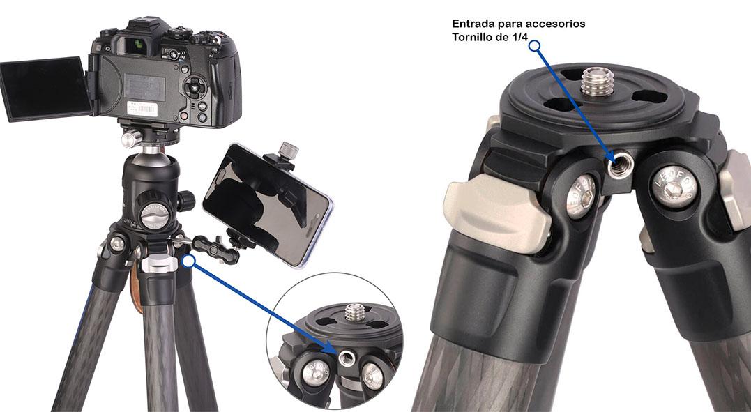 Serie de trípodes Carbono Leofoto LS con tornillo de conexión doble
