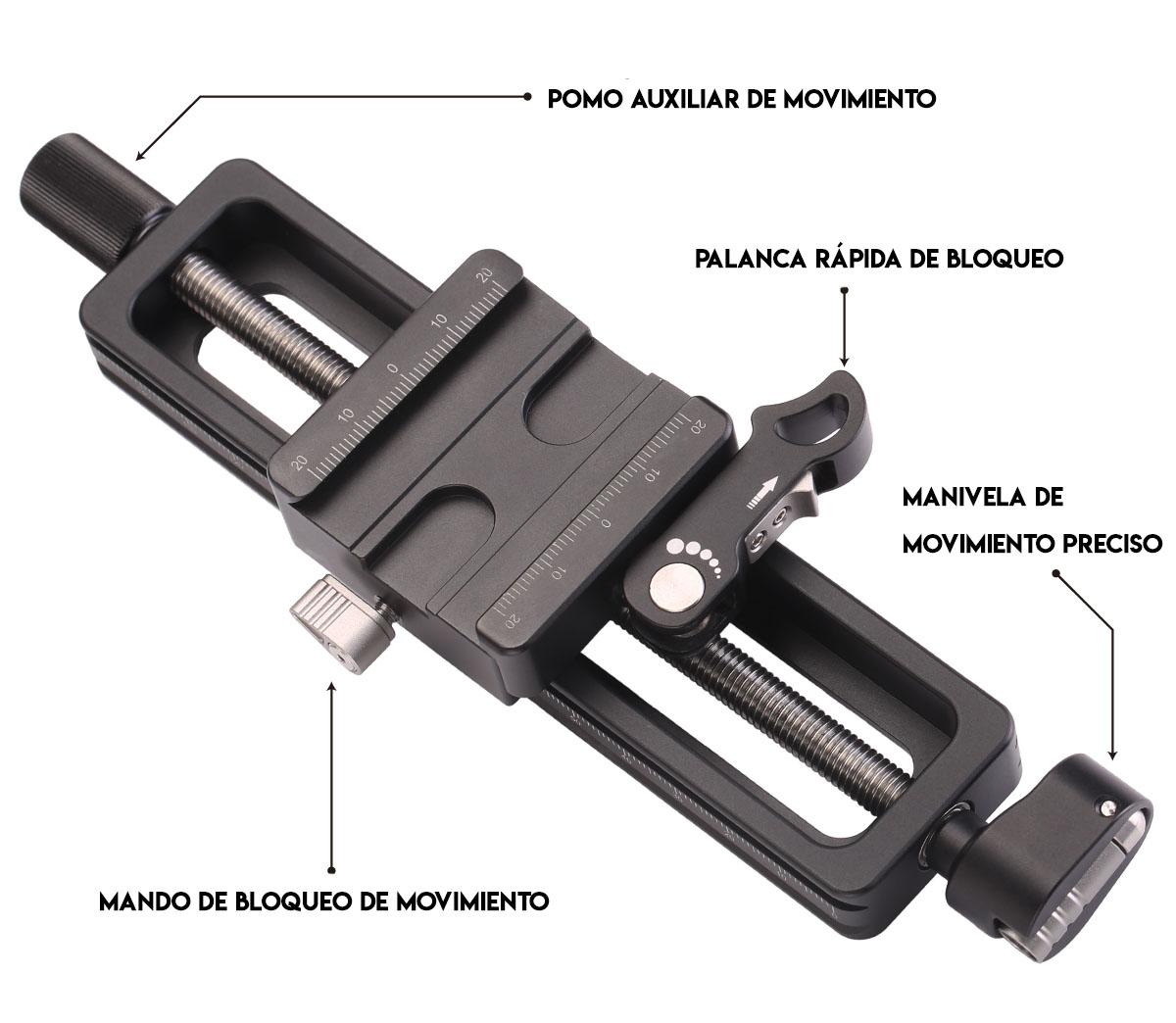 Zapata rail Macro MP-150 en aluminio ligero para fotos macro