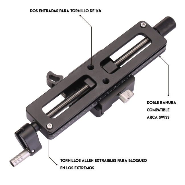 Zapata rail Macro MP-150 para macrofotografía