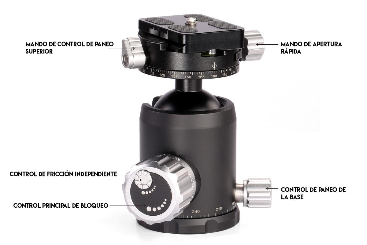 Rótula de bola CB-34 con rotador caracteristicas