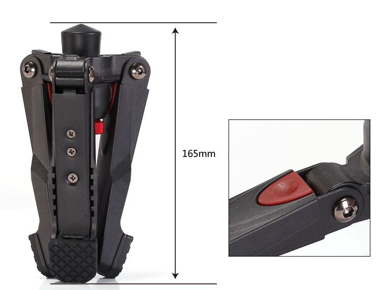 Base monopie Leofoto VD-02 plegado y medidas