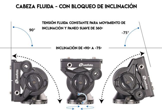 Cabeza fluida Leofoto BV-10 con inclinación y movimiento suave
