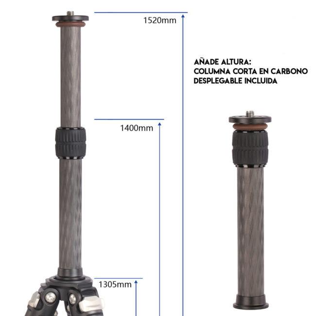 Kit trípode LS-224C+LH25 con columna central