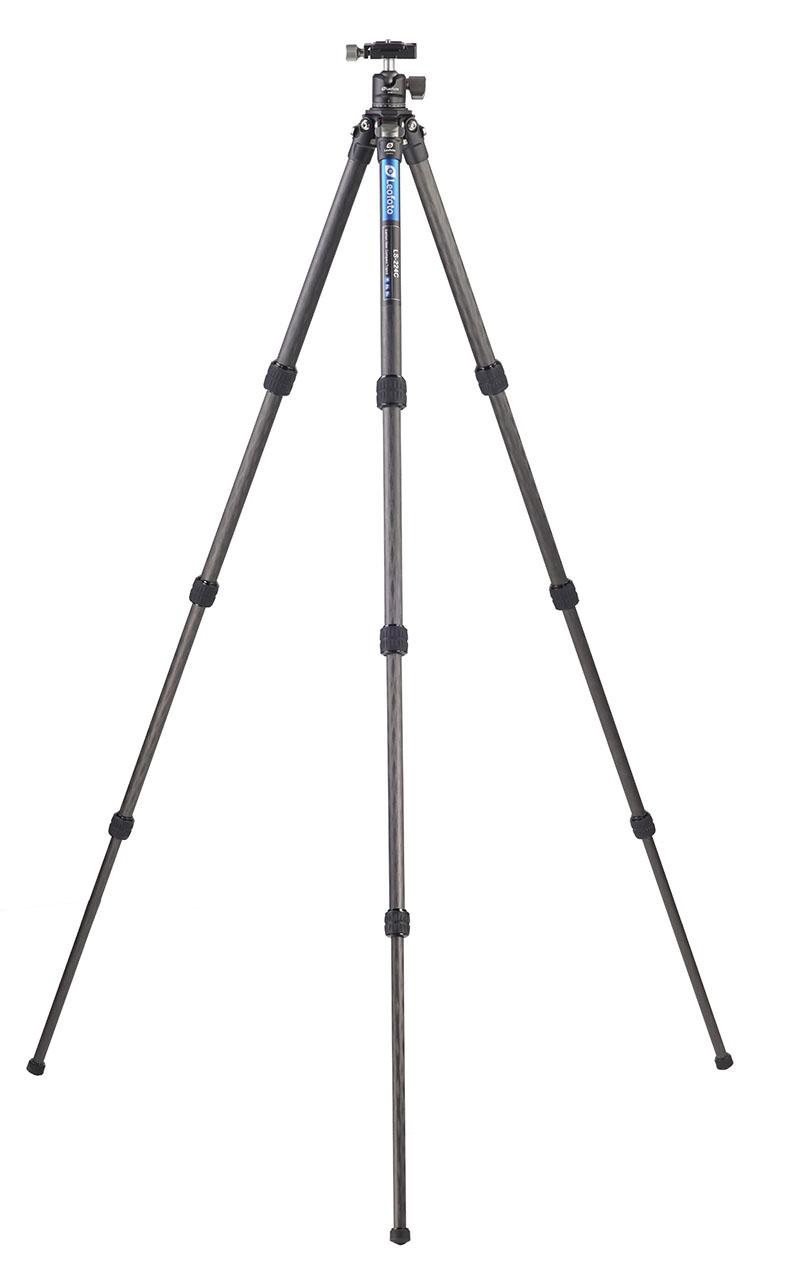 Kit trípode LS-224C+LH25 con patas desplegadas hasta 109 cm