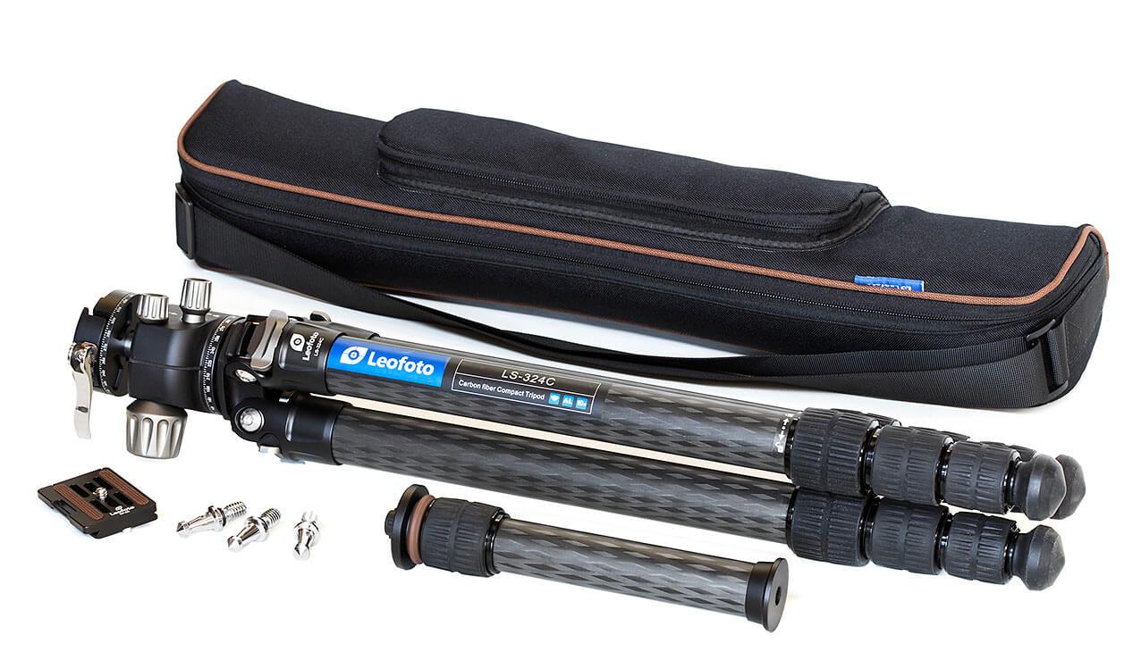 Kit Leofoto LS-324C + LH-40PCL trípode profesional con accesorios