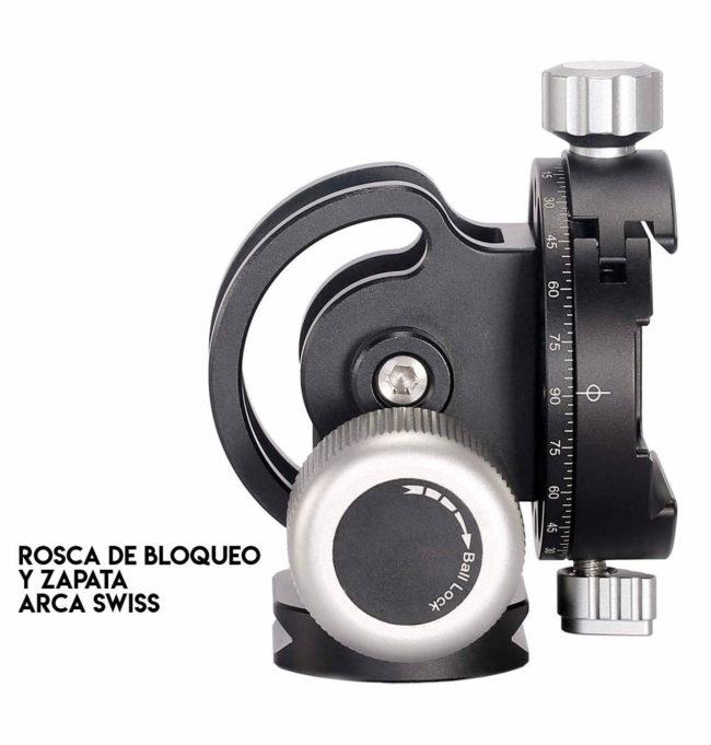 Leofoto VH-10 rótula para monopie con inclinación