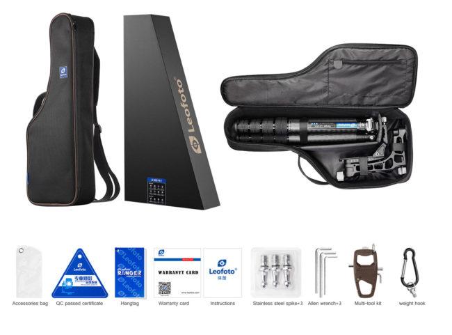 Leofoto LS-365C+PG-1 con rótula gimbal y accesorios incluidos