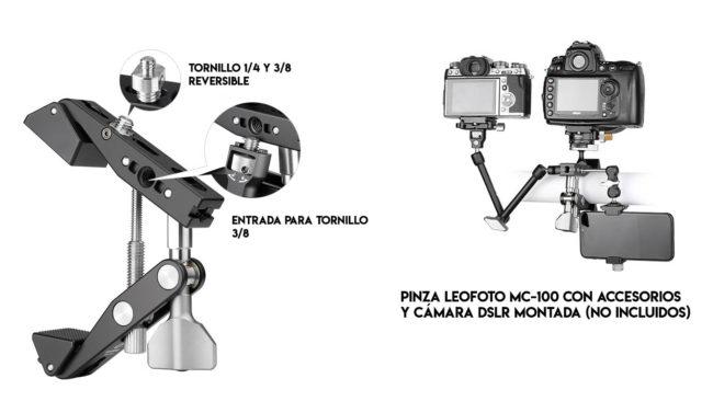 Leofoto MC-100 pinza para cámaras DSLR profesional