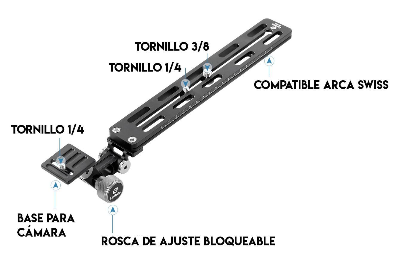 Leofoto VR-250 regleta Arca Swiss para cámara y objetivos tele