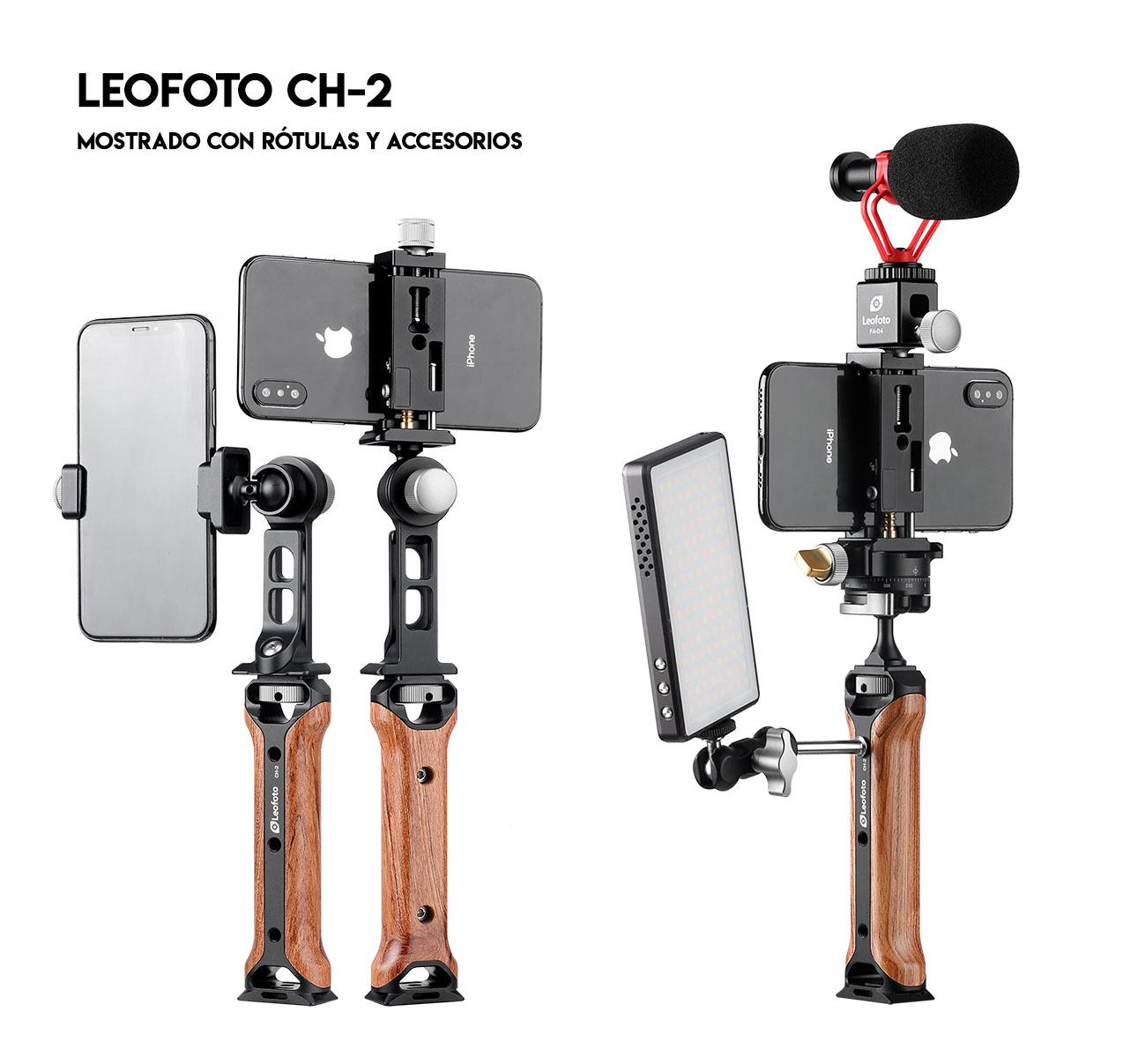 Leofoto CH-2 empuñadura para grabación con accesorios adicionales