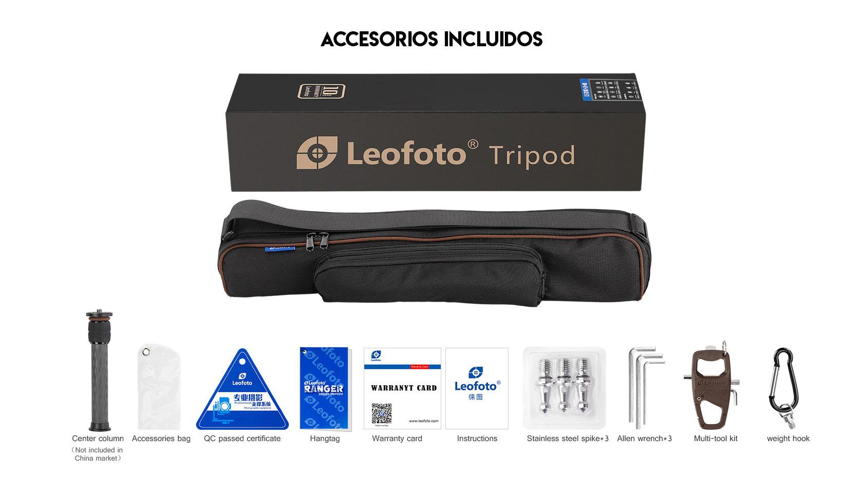 Leofoto LS-285C+LH-36 Trípode con rótula y accesorios