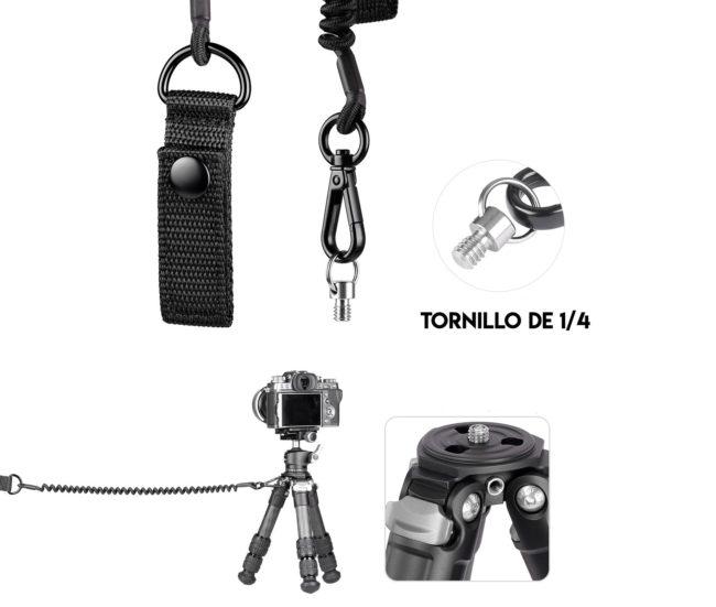Leofoto LT-S1 cable de seguridad para trípode con mosqueton