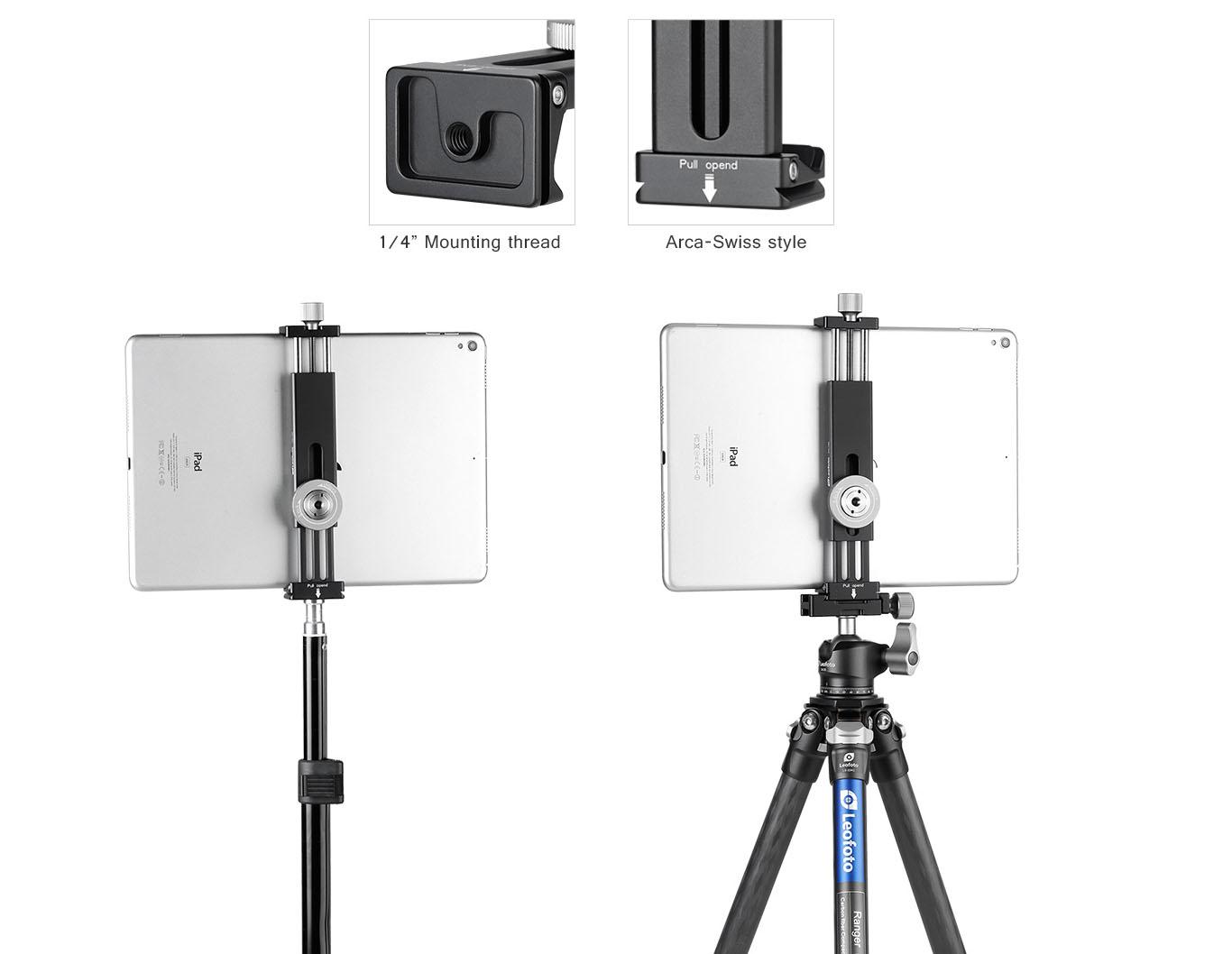 Leofoto PC-190 pinza extensible con arca swiss y entrada tornillo para telefonos movil y tablets e iPad