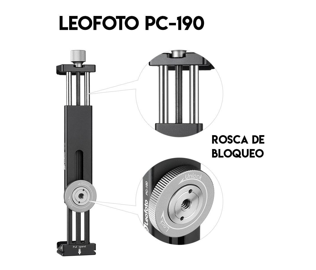 Leofoto PC-190 pinza soporte para teléfonos smartphone y ipad extensible