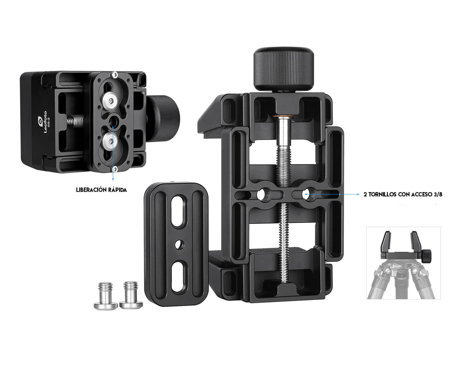 Leofoto GS-2 soporte con pinza para estabilizar terlescopios terrestres y rifles