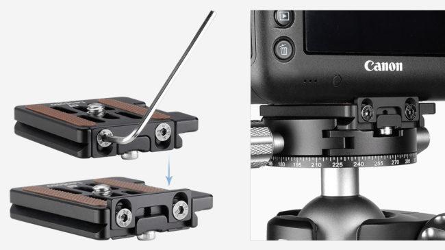 Plato rápido Leofoto NP-60 con bloqueo para cámaras