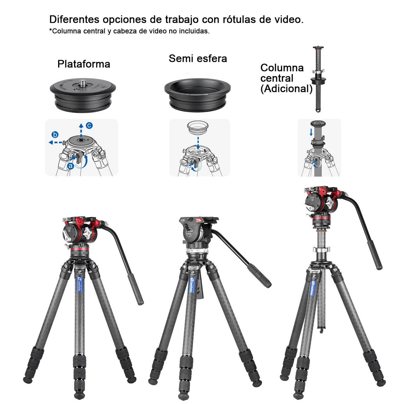 LM-364C Summit trípode Leofoto sin columna para video cámaras