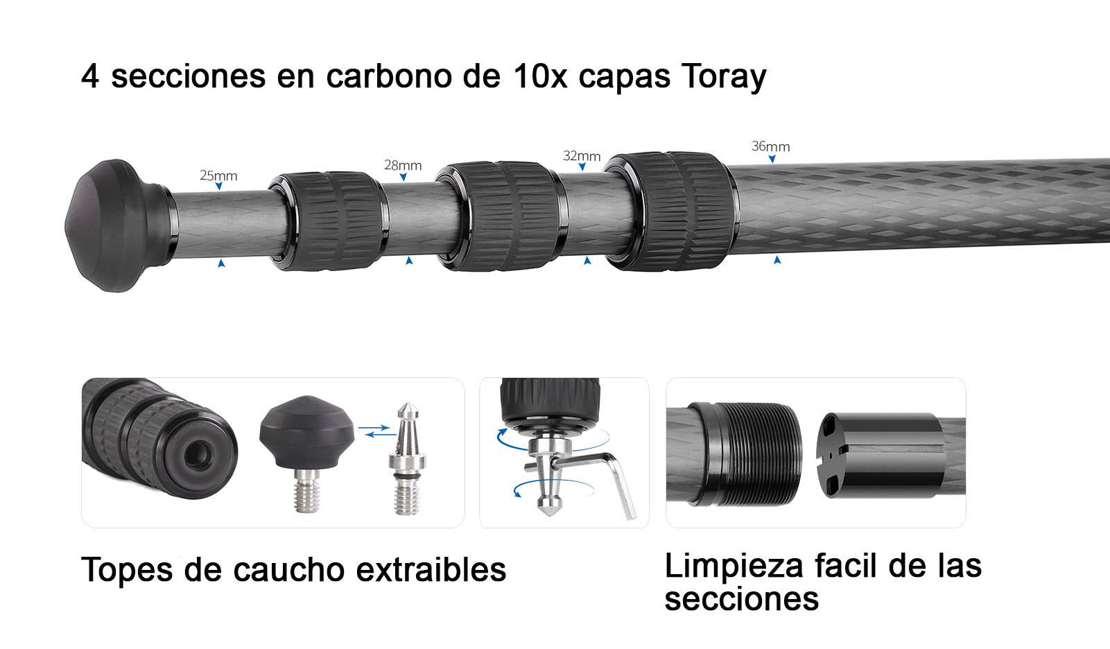 LM-364C Summit trípode ne carbono de Leofoto de 4 secciones sin columna central