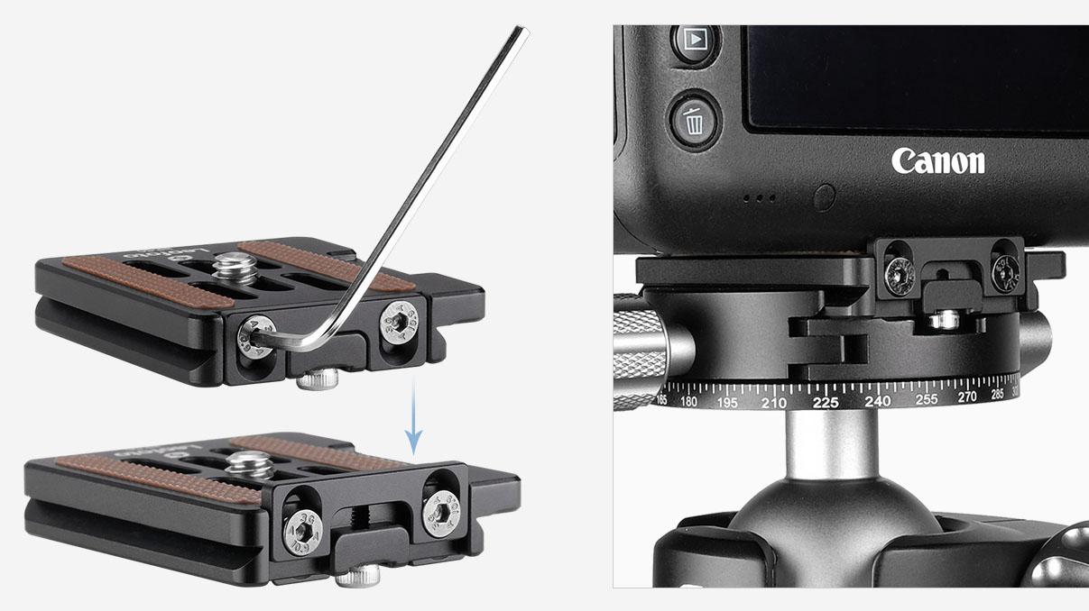 Plato rápido Leofoto NP-50 con bloqueo para cámaras