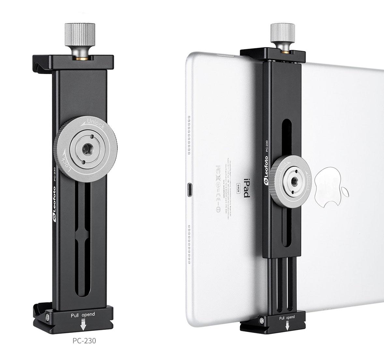Leofoto PC-230 pinza extensible para tablet y smartphone