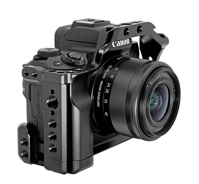 Camera Cage Leofoto EOS M50 para accesorios de video