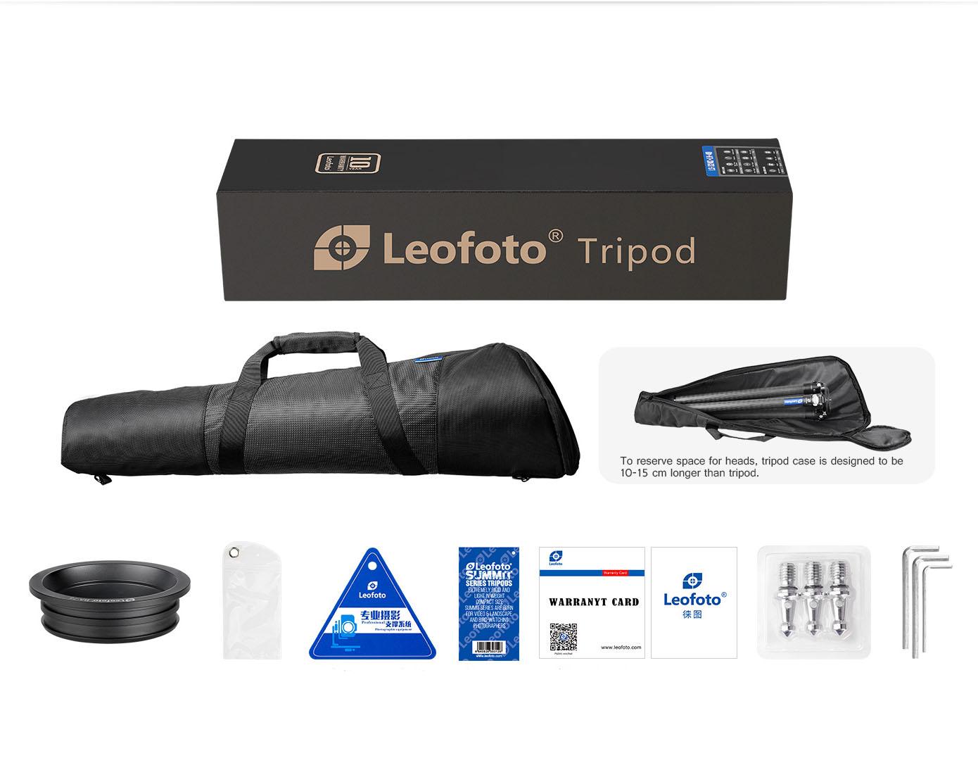 Accesorios incluidos con el trípode Leofoto Summit LM-364CL