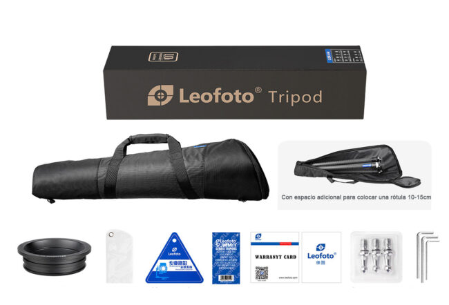 Accesorios incluidos del trípode de carbono Leofoto Summit LM-404C