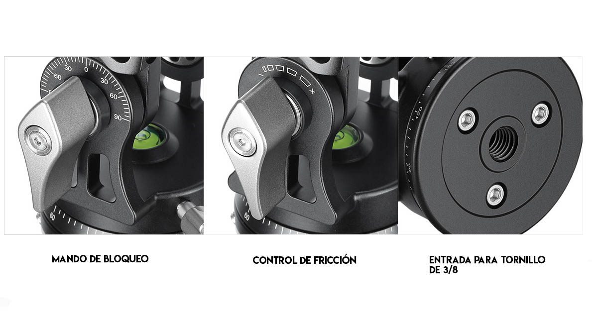 Rótula 2D Leofoto VH-30 con control de fricción