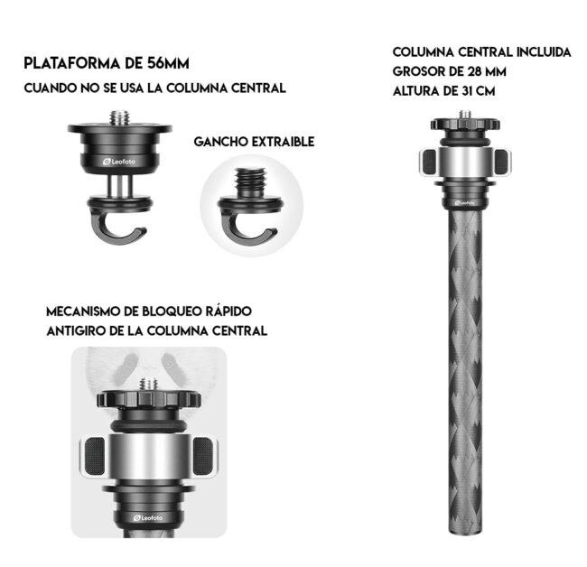 Columna central extraible del trípode de carbono Leofoto LQ-324C+LH-40