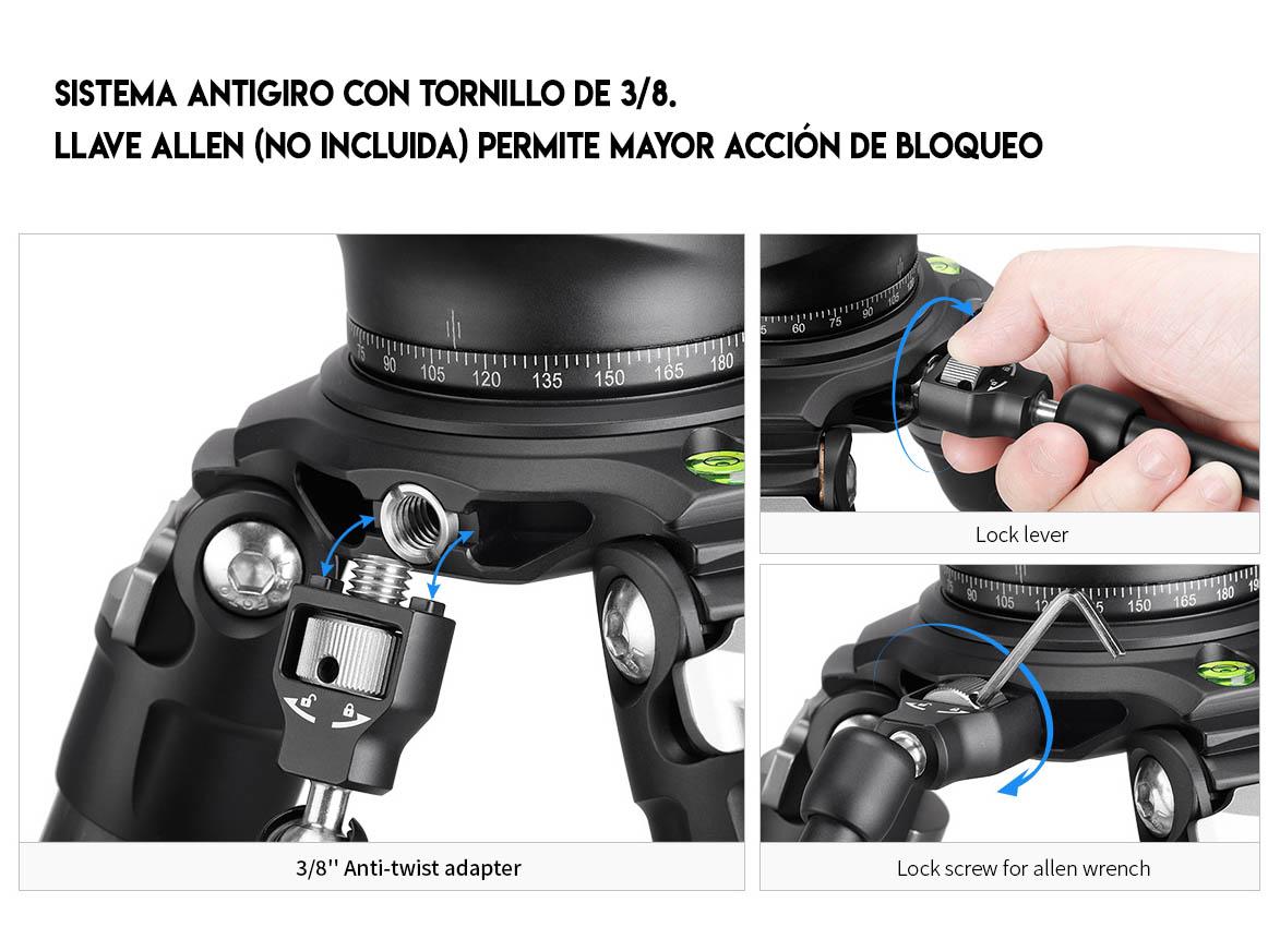 Leofoto AM-4 Kit detalle del brazo articulado