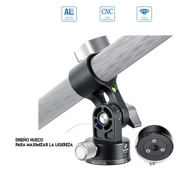 Inclincación y rotación del adaptador Leofoto HX-28