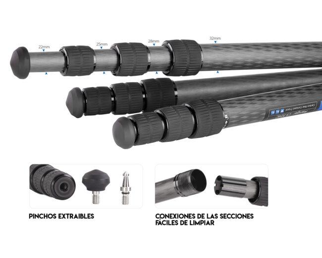 Patas del trípode de fibra de carbono LS-324C