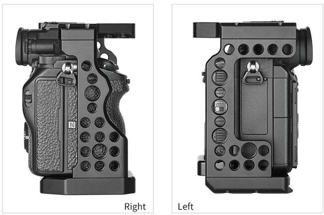 Vistas laterales de la jaula Camera Cage Leofoto para Sony A7R3, A7III y A9