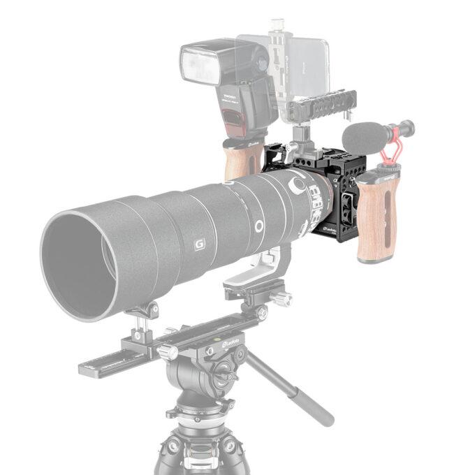 Accesos multiples para la jaula Camera Cage Leofoto para Sony A9