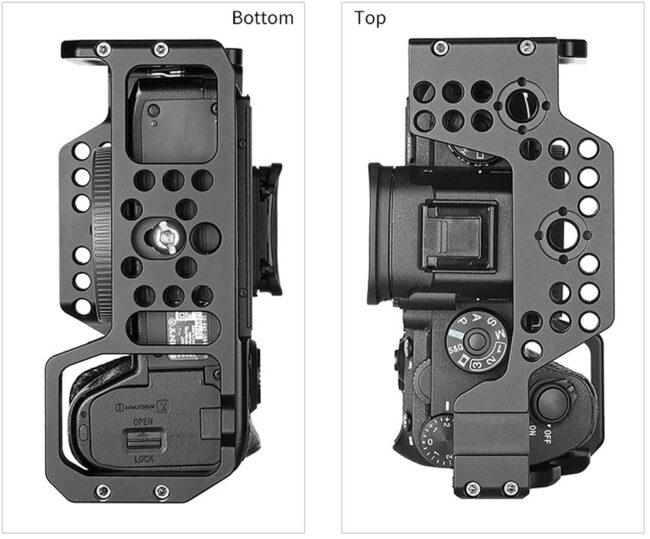 vista inferior de la Camera Cage Leofoto para Sony A9