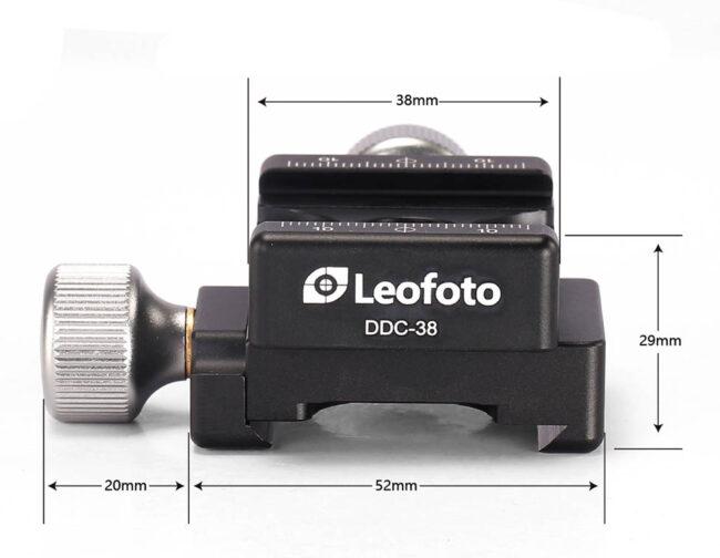 Dimensiones de la zapata Leofoto DDC-38