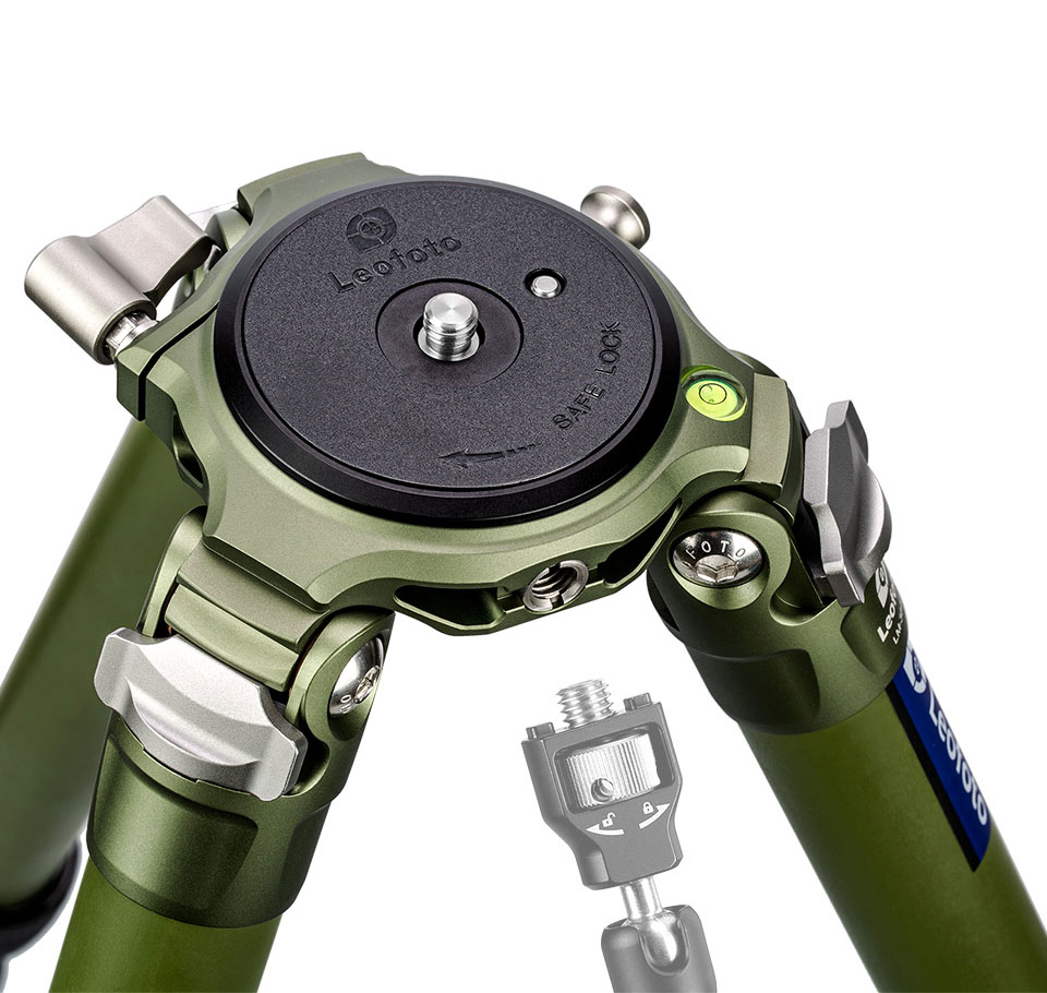 Trípode de carbono con plataforma de 75mm Leofoto LM-364CL verde