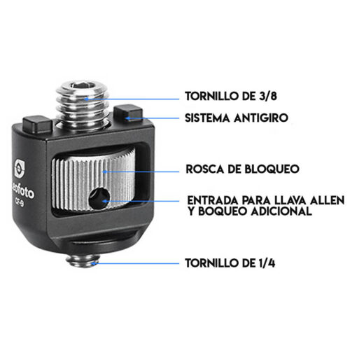 Adaptador de Tornillo de 1/4 a 3/8 Leofoto CF-9